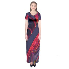 Fractal Art Digital Art Short Sleeve Maxi Dress