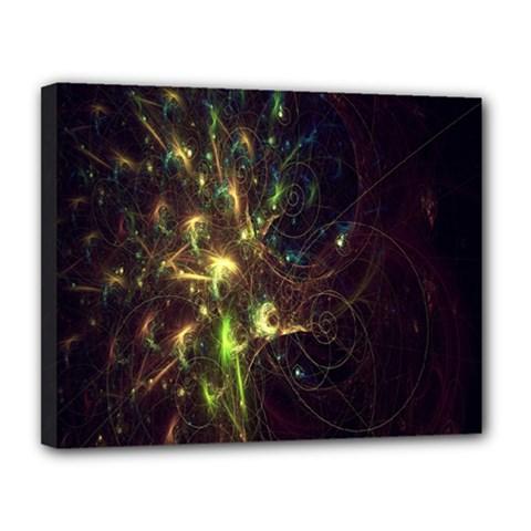 Fractal Flame Light Energy Canvas 14  x 11