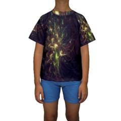 Fractal Flame Light Energy Kids  Short Sleeve Swimwear