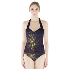 Fractal Flame Light Energy Halter Swimsuit