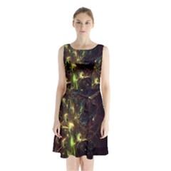 Fractal Flame Light Energy Sleeveless Chiffon Waist Tie Dress