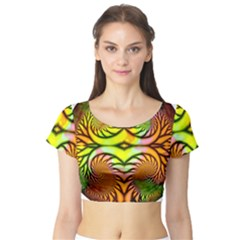 Fractals Ball About Abstract Short Sleeve Crop Top (Tight Fit)