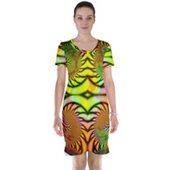 Fractals Ball About Abstract Short Sleeve Nightdress