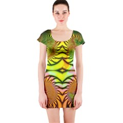 Fractals Ball About Abstract Short Sleeve Bodycon Dress
