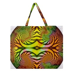 Fractals Ball About Abstract Zipper Large Tote Bag