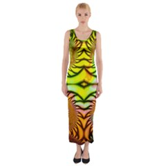 Fractals Ball About Abstract Fitted Maxi Dress