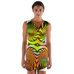Fractals Ball About Abstract Wrap Front Bodycon Dress