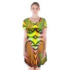 Fractals Ball About Abstract Short Sleeve V-neck Flare Dress