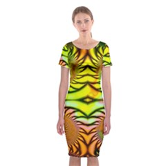 Fractals Ball About Abstract Classic Short Sleeve Midi Dress