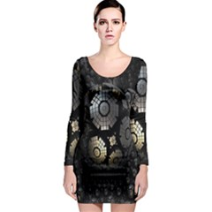 Fractal Sphere Steel 3d Structures Long Sleeve Bodycon Dress