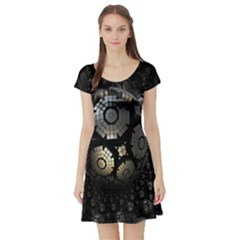 Fractal Sphere Steel 3d Structures Short Sleeve Skater Dress