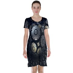 Fractal Sphere Steel 3d Structures Short Sleeve Nightdress