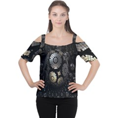 Fractal Sphere Steel 3d Structures Women s Cutout Shoulder Tee