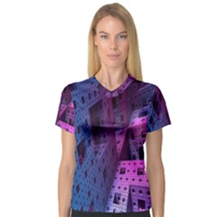 Fractals Geometry Graphic Women s V Neck Sport Mesh Tee