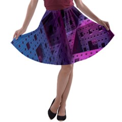 Fractals Geometry Graphic A Line Skater Skirt