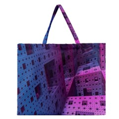 Fractals Geometry Graphic Zipper Large Tote Bag