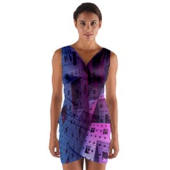 Fractals Geometry Graphic Wrap Front Bodycon Dress