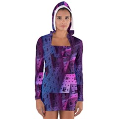 Fractals Geometry Graphic Women s Long Sleeve Hooded T-shirt