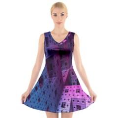Fractals Geometry Graphic V Neck Sleeveless Skater Dress