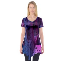 Fractals Geometry Graphic Short Sleeve Tunic