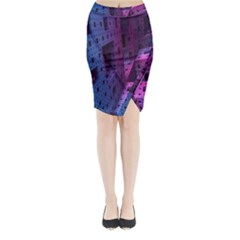 Fractals Geometry Graphic Midi Wrap Pencil Skirt