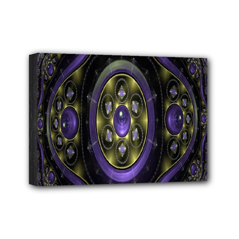 Fractal Sparkling Purple Abstract Mini Canvas 7  x 5