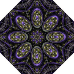 Fractal Sparkling Purple Abstract Hook Handle Umbrellas (Large)