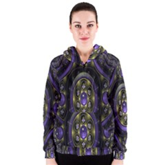 Fractal Sparkling Purple Abstract Women s Zipper Hoodie