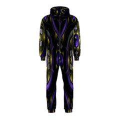 Fractal Sparkling Purple Abstract Hooded Jumpsuit (Kids)