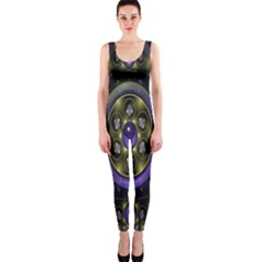 Fractal Sparkling Purple Abstract OnePiece Catsuit