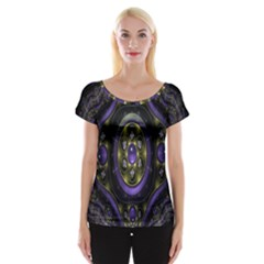 Fractal Sparkling Purple Abstract Women s Cap Sleeve Top