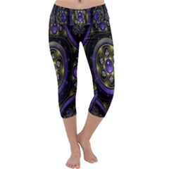 Fractal Sparkling Purple Abstract Capri Yoga Leggings
