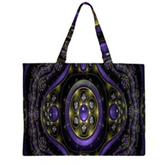 Fractal Sparkling Purple Abstract Zipper Large Tote Bag