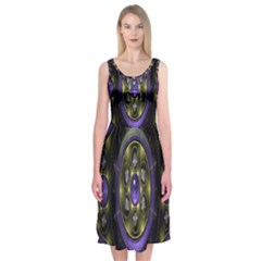 Fractal Sparkling Purple Abstract Midi Sleeveless Dress