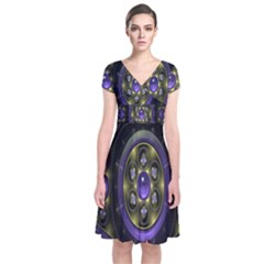 Fractal Sparkling Purple Abstract Short Sleeve Front Wrap Dress