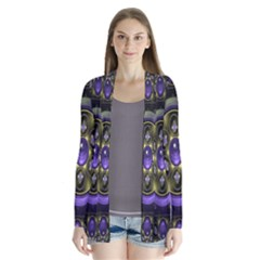 Fractal Sparkling Purple Abstract Cardigans