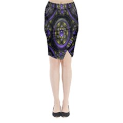 Fractal Sparkling Purple Abstract Midi Wrap Pencil Skirt