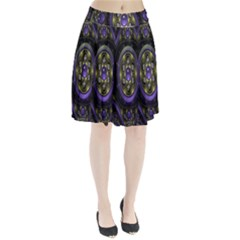 Fractal Sparkling Purple Abstract Pleated Skirt