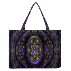 Fractal Sparkling Purple Abstract Medium Zipper Tote Bag