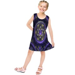 Fractal Sparkling Purple Abstract Kids  Tunic Dress
