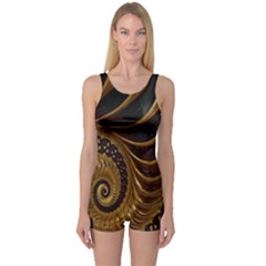 Fractal Spiral Endless Mathematics One Piece Boyleg Swimsuit