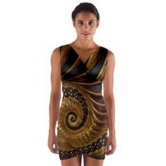 Fractal Spiral Endless Mathematics Wrap Front Bodycon Dress