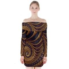 Fractal Spiral Endless Mathematics Long Sleeve Off Shoulder Dress