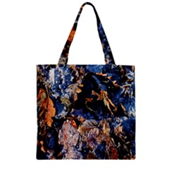 Frost Leaves Winter Park Morning Zipper Grocery Tote Bag
