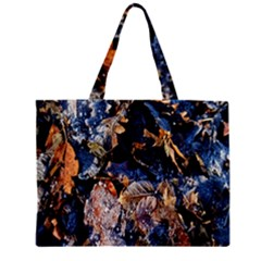 Frost Leaves Winter Park Morning Zipper Mini Tote Bag