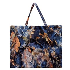 Frost Leaves Winter Park Morning Zipper Large Tote Bag