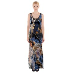 Frost Leaves Winter Park Morning Maxi Thigh Split Dress