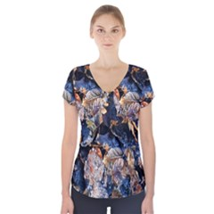 Frost Leaves Winter Park Morning Short Sleeve Front Detail Top