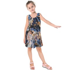 Frost Leaves Winter Park Morning Kids  Sleeveless Dress