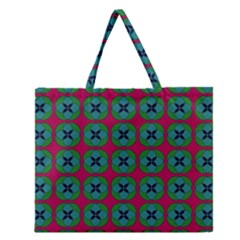 Geometric Patterns Zipper Large Tote Bag